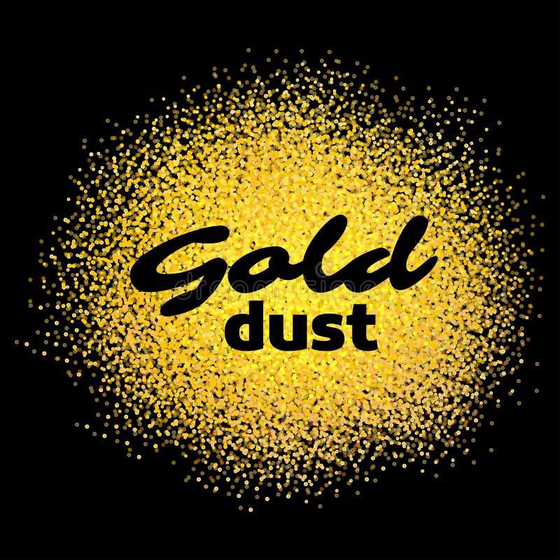 La poussière d'or sur le noir Sable d'or L'or miroite sur le fond blanc Fond de scintillement d'or Texte d'or pour la carte, VIP illustration stock