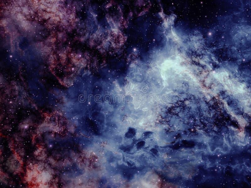 La poussière et nuages de nébuleuse d'espace lointain avec des étoiles images stock