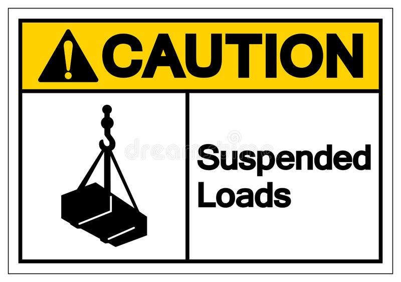 La précaution a suspendu le signe de symbole de charges, illustration de vecteur, d'isolement sur le label blanc de fond EPS10 illustration stock