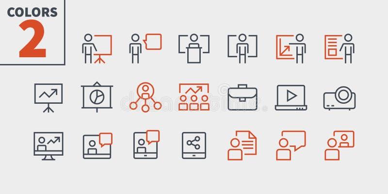 La présentation d'affaires a décrit le pixel le vecteur Bien-ouvré que parfait rayent légèrement les icônes 48x48 prêtes pour la  illustration libre de droits