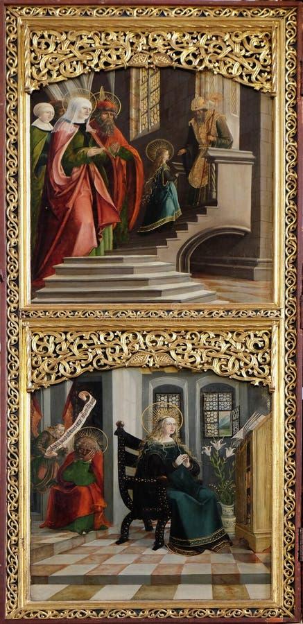La présentation dans le temple, annonce, autel en église d'iceberg de Maria AM dans Hallstatt photos libres de droits