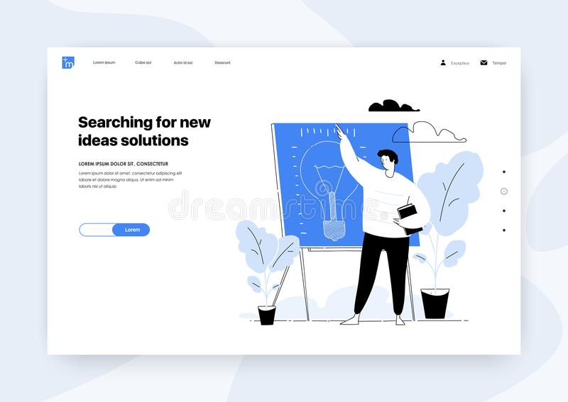 La présentation du nouveau projet recherchant de nouvelles solutions d'idées dirigent l'illustration illustration de vecteur