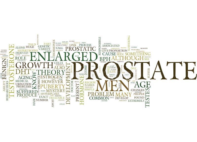 La próstata agrandada la causa sigue siendo un concepto de la nube de la palabra del fondo del texto del misterio imagenes de archivo