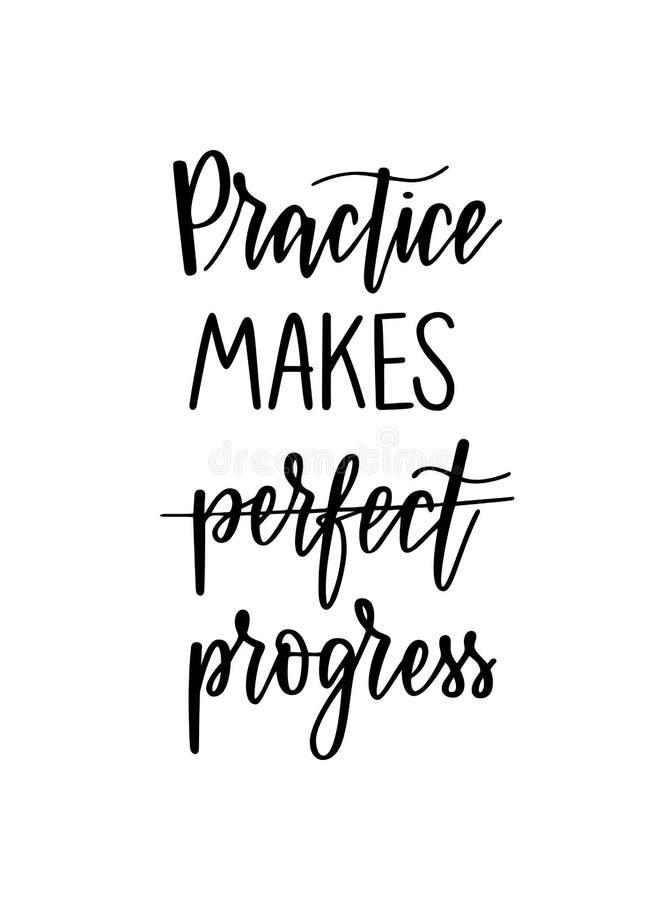 La pratica realizza i progressi che il duro lavoro ispiratore ripaga l'iscrizione illustrazione di stock