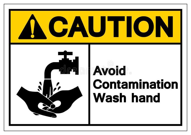 La precaución evita la muestra del símbolo de la mano del lavado de la contaminación, ejemplo del vector, aislante en la etiqueta libre illustration