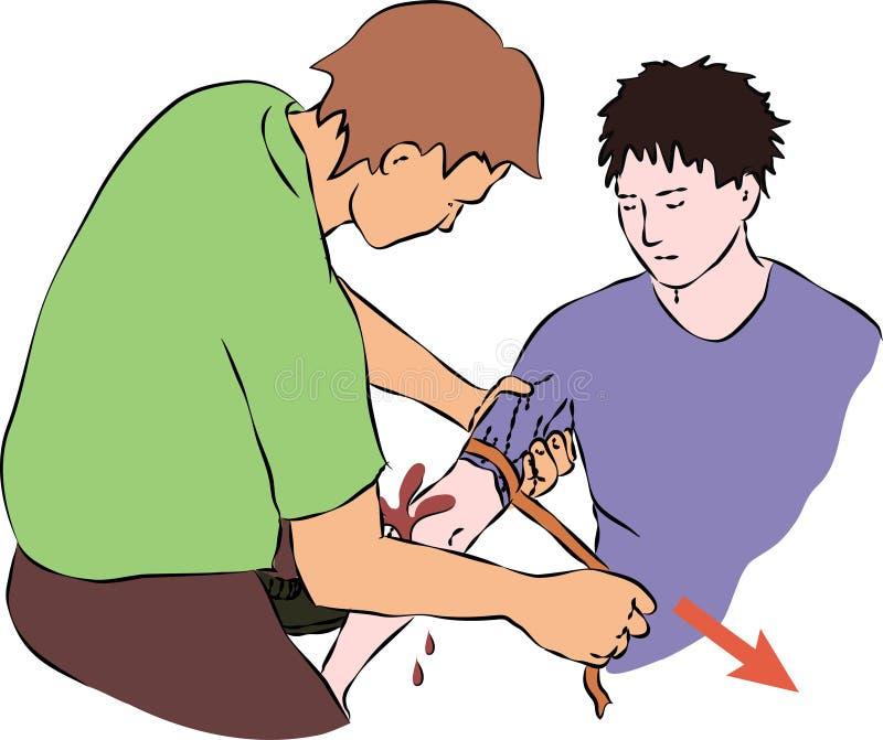 La première aide - arrêtez le flux sanguin avec une bande élastique illustration libre de droits