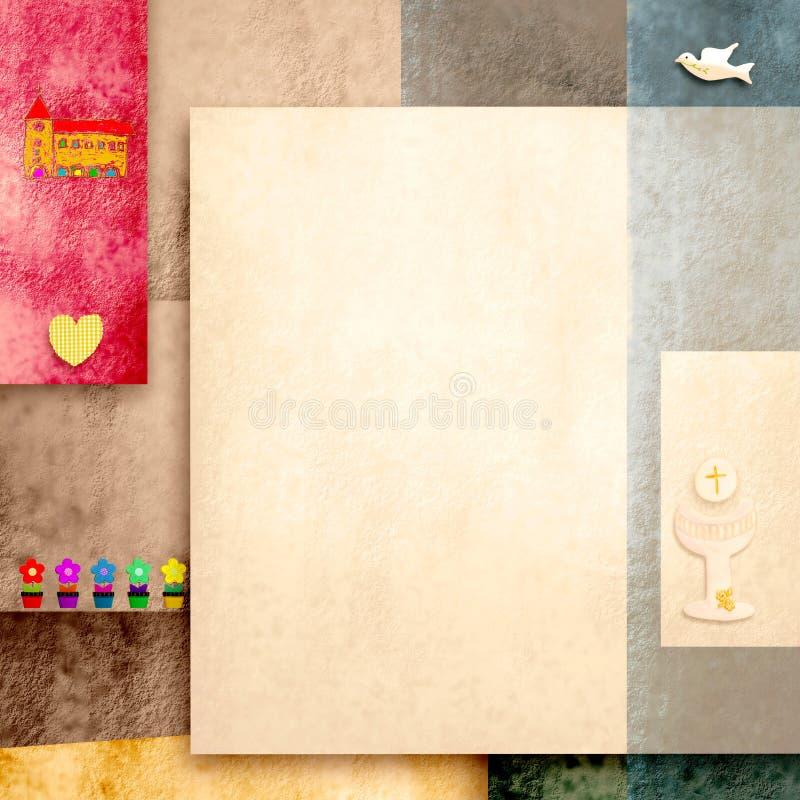 La carte d'invitation de sainte communion avec l'espace vide pour la photo ou écrivent illustration libre de droits