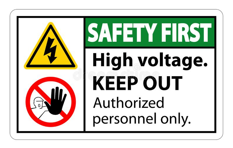 La première haute tension de sécurité empêchent d'entrer l'isolat de signe sur le fond blanc, l'illustration ENV de vecteur 10 illustration stock