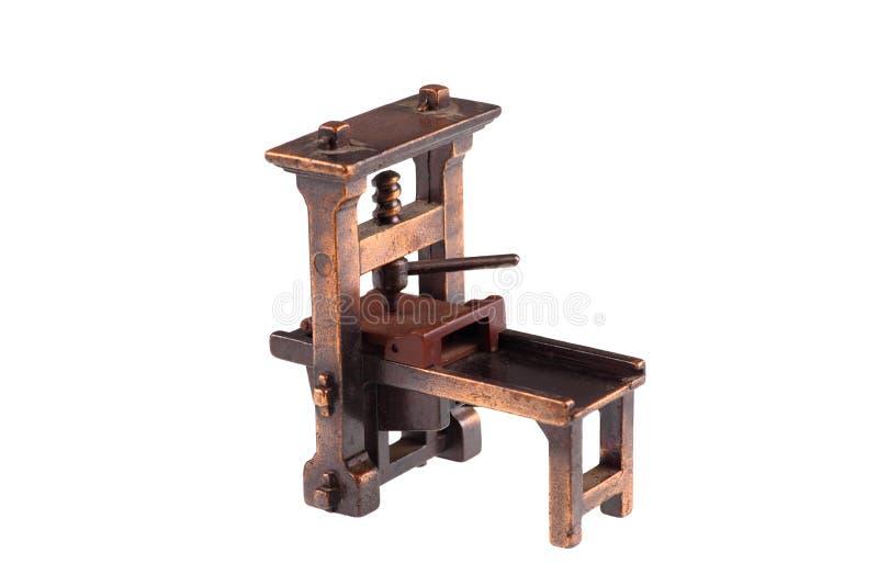 La première presse typographique de Gutenberg photos stock