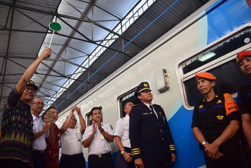 La premier del viaje de tren expreso de Ambarawa fotos de archivo