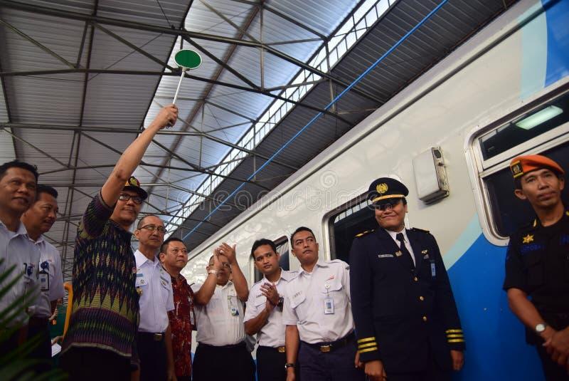 La premier del viaje de tren expreso de Ambarawa fotografía de archivo
