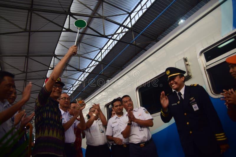 La premier del viaje de tren expreso de Ambarawa imagen de archivo libre de regalías