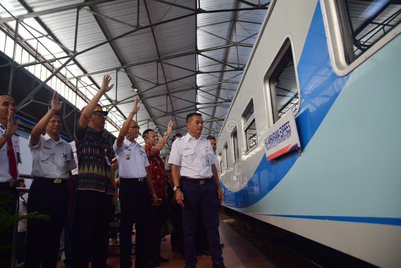 La premier del viaje de tren expreso de Ambarawa imagenes de archivo