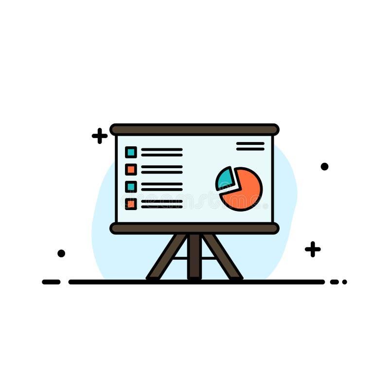 La presentación, Analytics, negocio, carta, gráfico, márketing, línea plana del negocio del informe llenó la plantilla de la band ilustración del vector