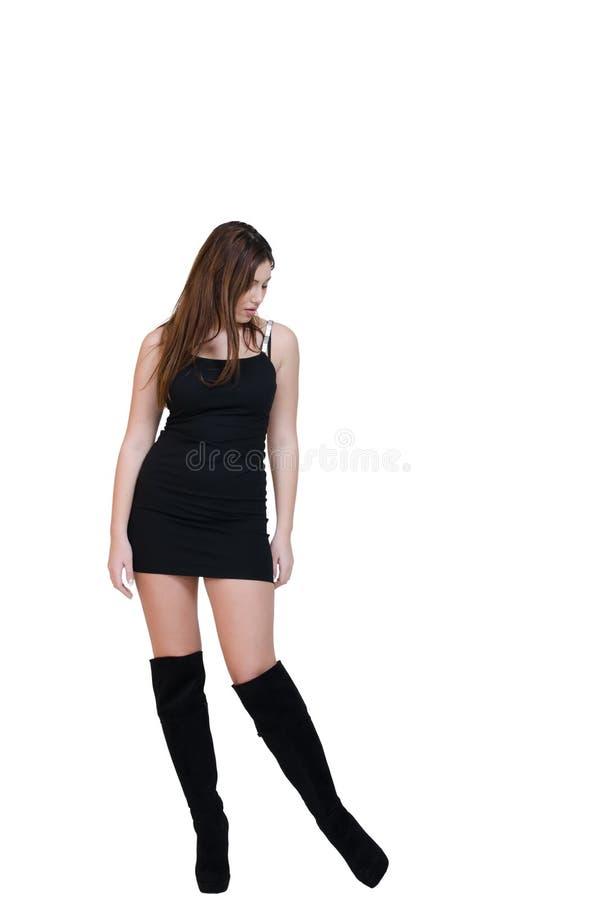La presentación femenina de Babeface en el estudio se vistió en vestido negro imágenes de archivo libres de regalías