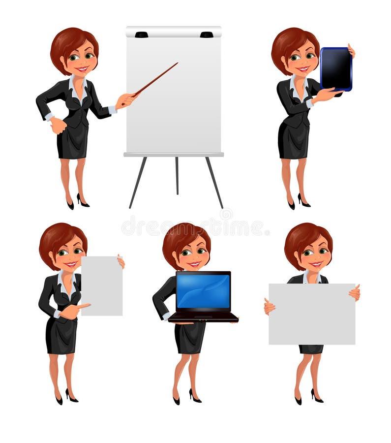 La presentazione della donna di affari del fumetto ha messo 2 illustrazione vettoriale