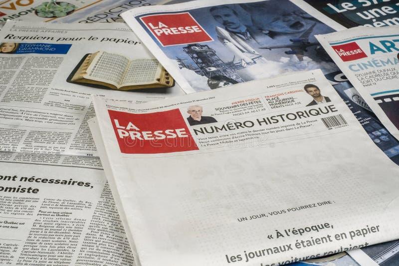 La La Presse édite l'édition finale d'impression image libre de droits