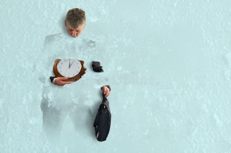 La pressione di affari congelata a tempo ghiaccia il successo fotografia stock