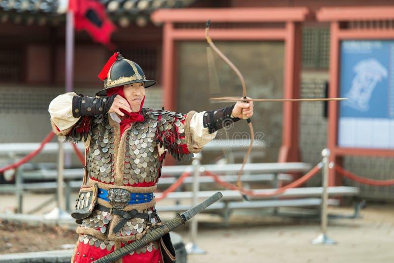 La prestazione di prova di arti marziali tradizionali, il 23 dicembre 2016, Gyeonggi-fa, Suwon-si, Corea del Sud immagine stock libera da diritti
