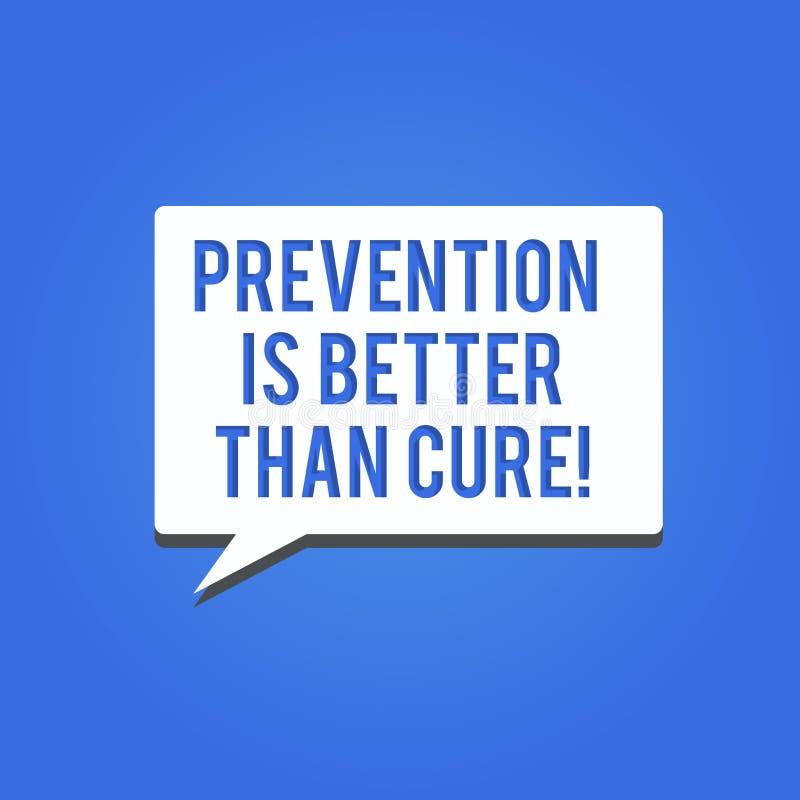 La prevención del texto de la escritura de la palabra es mejor que la curación El concepto del negocio para la enfermedad es evit libre illustration