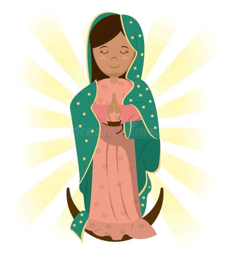 La prière catholique de Vierge Marie bénissent l'image illustration de vecteur