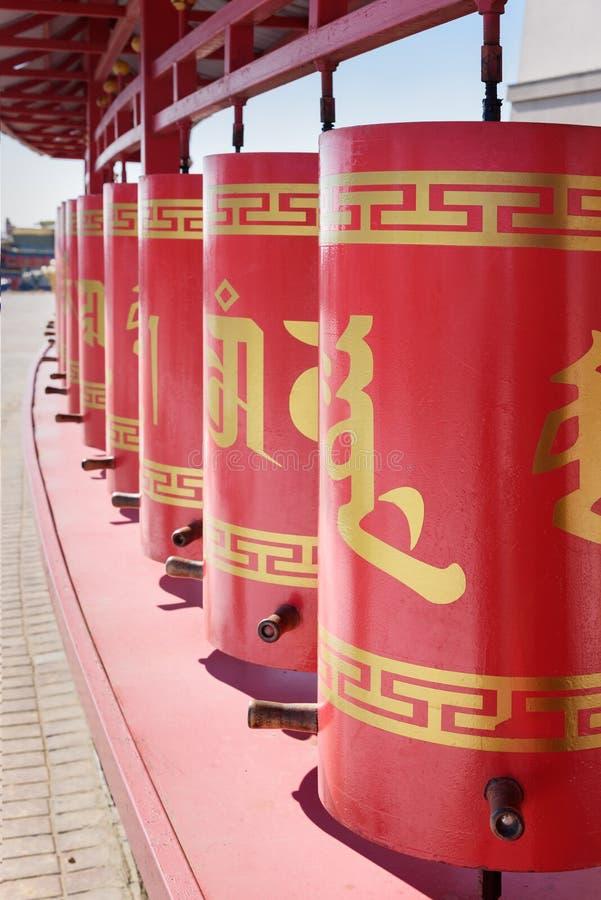 La prière roule dedans la demeure d'or complexe bouddhiste de Bouddha Shakyamuni Elista Russie images libres de droits