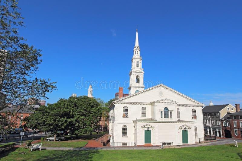 La prima chiesa battista in Providence, RI immagine stock