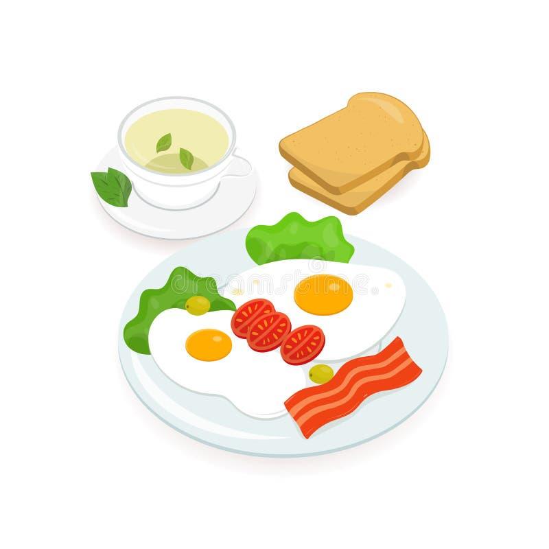 La prima colazione deliziosa ha consistito delle uova fritte con le strisce e gli ortaggi freschi di bacon che si trovano sul pia illustrazione vettoriale