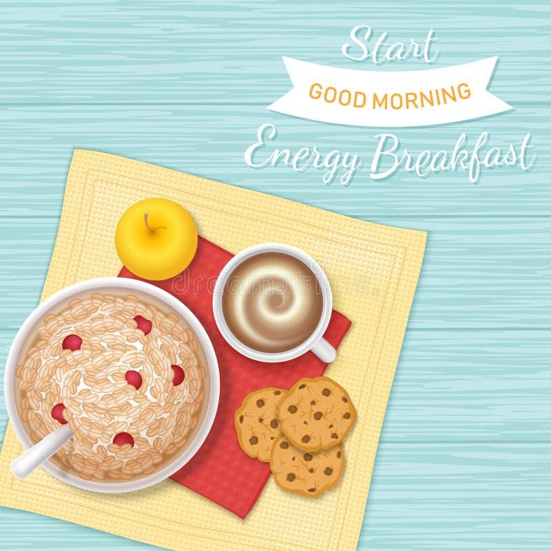 La prima colazione di energia ha lasciato l'inizio del ` s un il buongiorno Primo piano del porridge della farina d'avena con le  illustrazione di stock