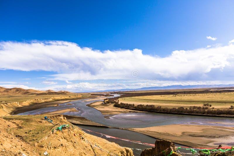 la prima curvatura del fiume Giallo fotografia stock