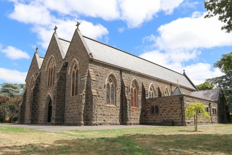 La prima pietra della nostra signora della chiesa cattolica del rosario in Kyneton è stata posta il 20 settembre 1857 immagini stock libere da diritti
