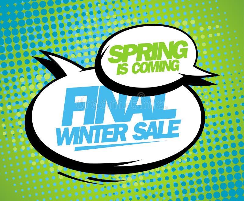 La primavera è progettazione finale venente di vendita dell'inverno. illustrazione vettoriale