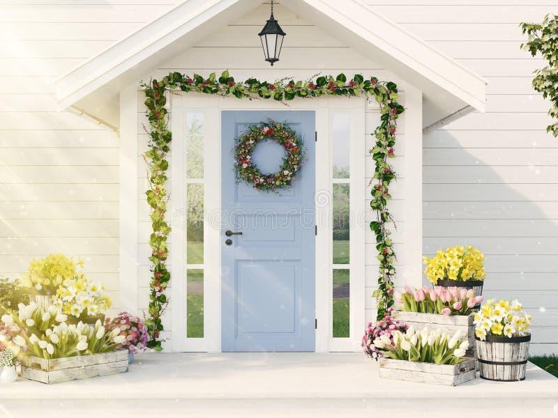 La primavera adornó el pórtico con muchas flores representación 3d foto de archivo