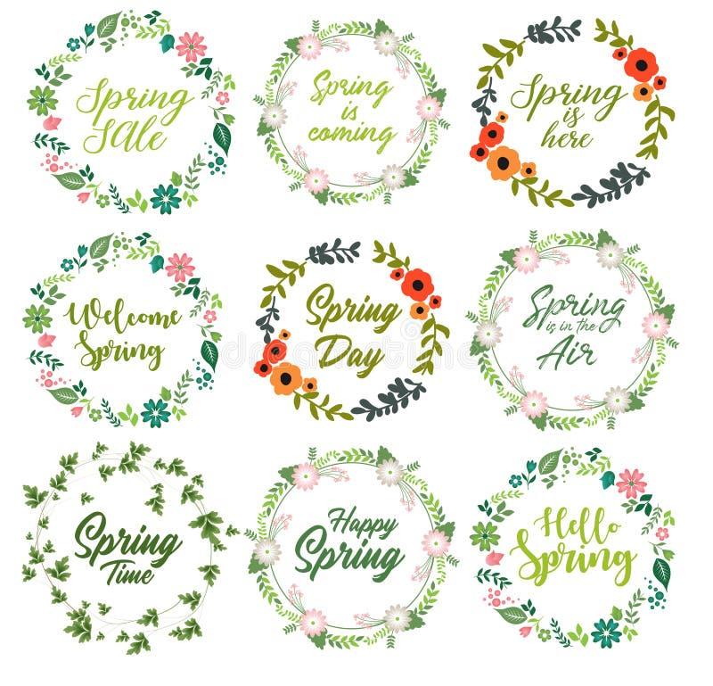 La primavera cita el sistema con la guirnalda floral ilustración del vector