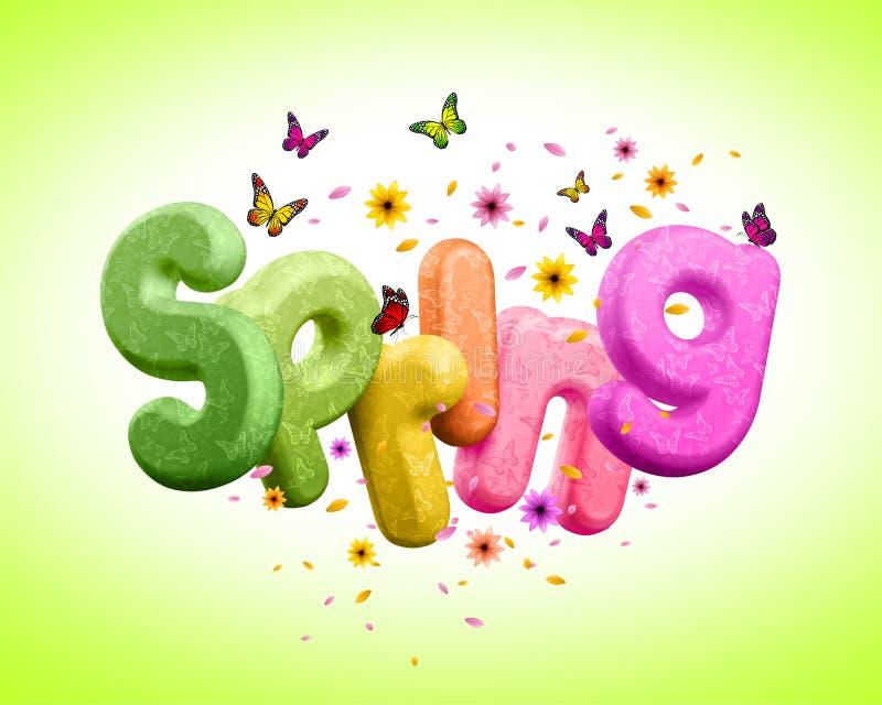 La primavera 3D rindió el texto para el ejemplo del diseño del cartel de la primavera libre illustration