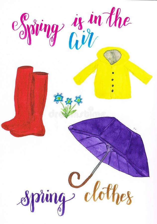 La primavera de la acuarela viste consistir en el impermeable amarillo, wellingtons rojos y un paraguas púrpura ilustración del vector