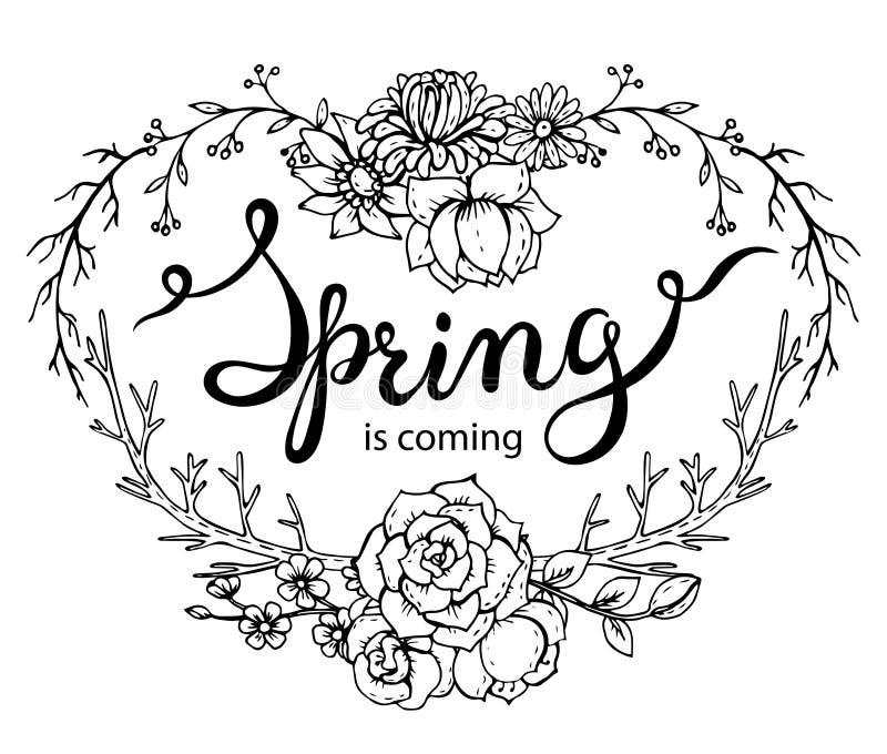 La primavera de las palabras de las letras de la mano está viniendo con la guirnalda floral stock de ilustración