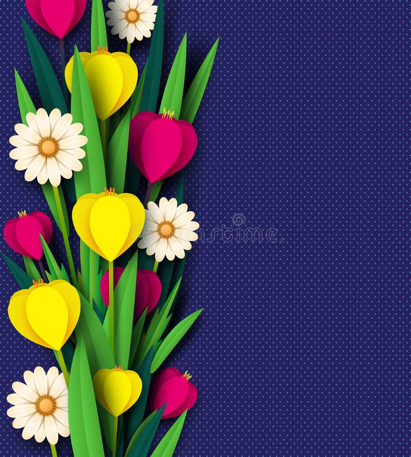 La primavera del corte del papel florece el tulipán y manzanillas Plantilla para la tarjeta de felicitación, fondo del día de fie stock de ilustración