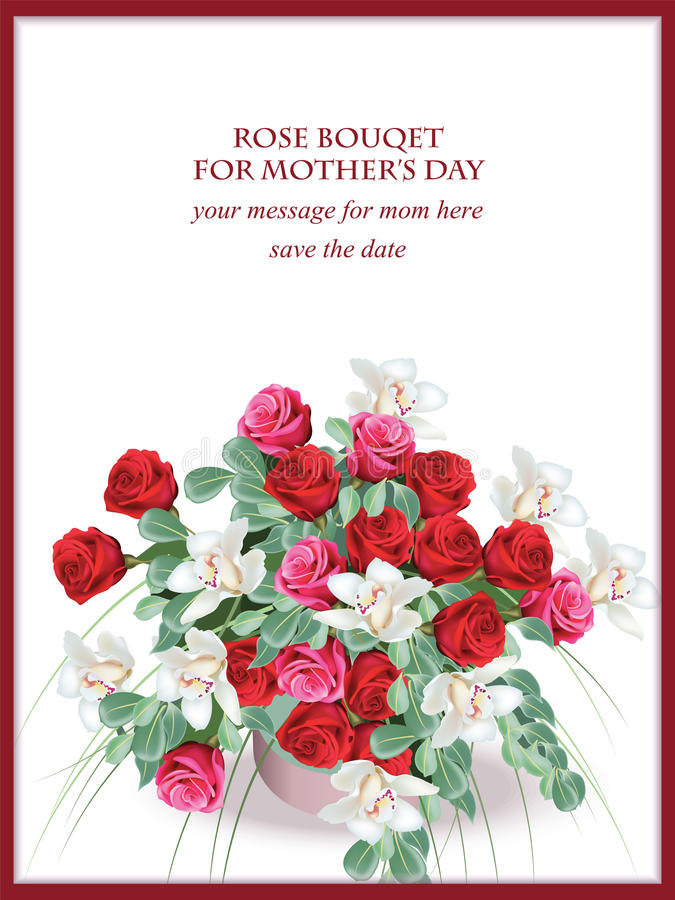 La primavera del giorno di madri fiorisce la carta Fondo delicato del fiore del mazzo del fiore Bella cartolina per il compleanno illustrazione di stock