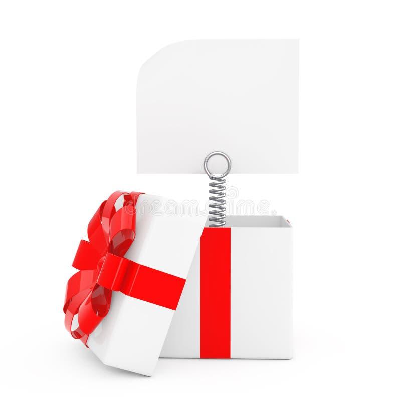 La primavera del metallo con la carta in bianco dell'insegna esce dai wi del contenitore di regalo illustrazione di stock