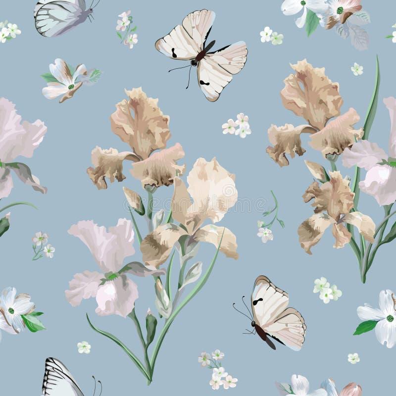 La primavera di fioritura Iris Flowers variopinta e le farfalle modellano il fondo Stampa senza cuciture di modo illustrazione vettoriale