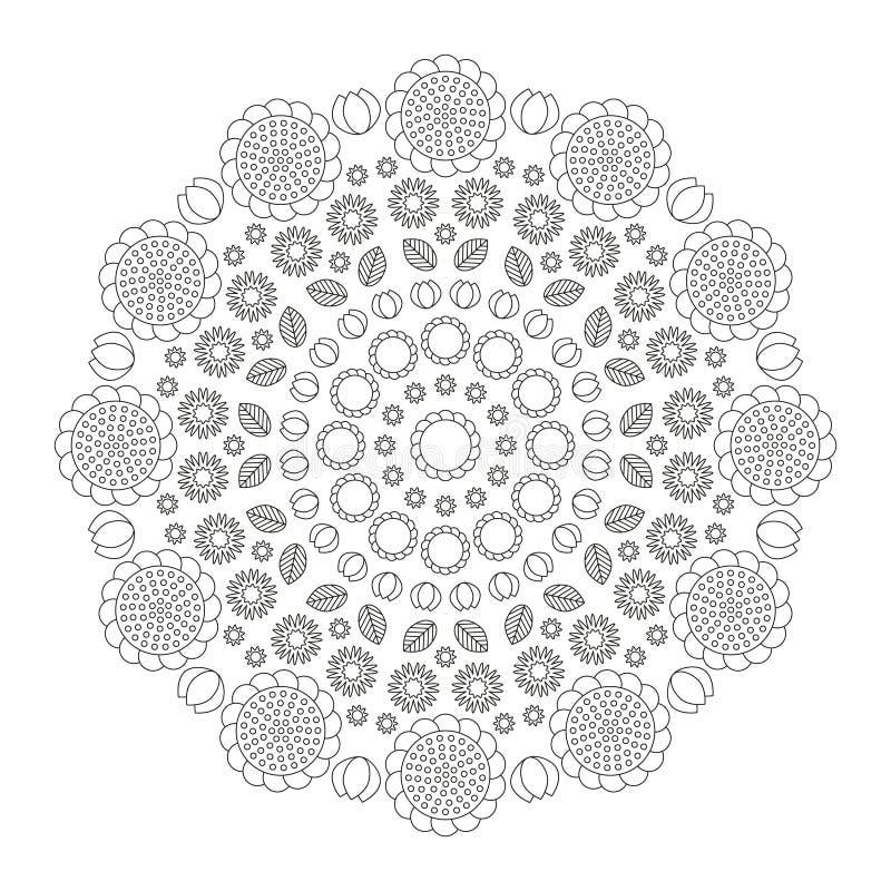 La primavera divertida de la mandala circular del modelo florece blanco y negro - fondo floral stock de ilustración