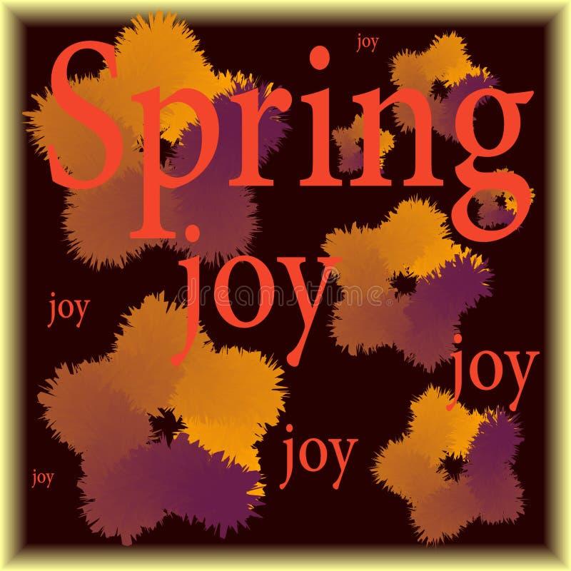 La primavera e l'illustrazione fresca con le parole balzano e la gioia Colori freschi illustrazione vettoriale
