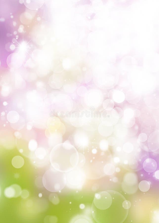 La primavera empañó el fondo del bokeh del arco iris, círculos blancos, verde, p ilustración del vector