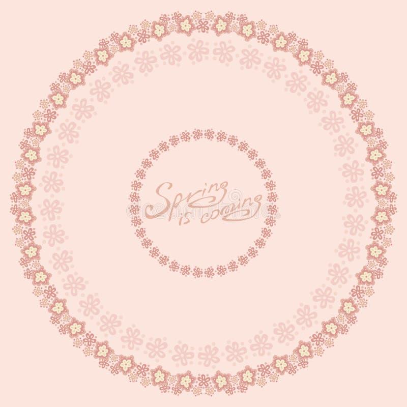 La primavera es marco rosado de la flor que viene stock de ilustración