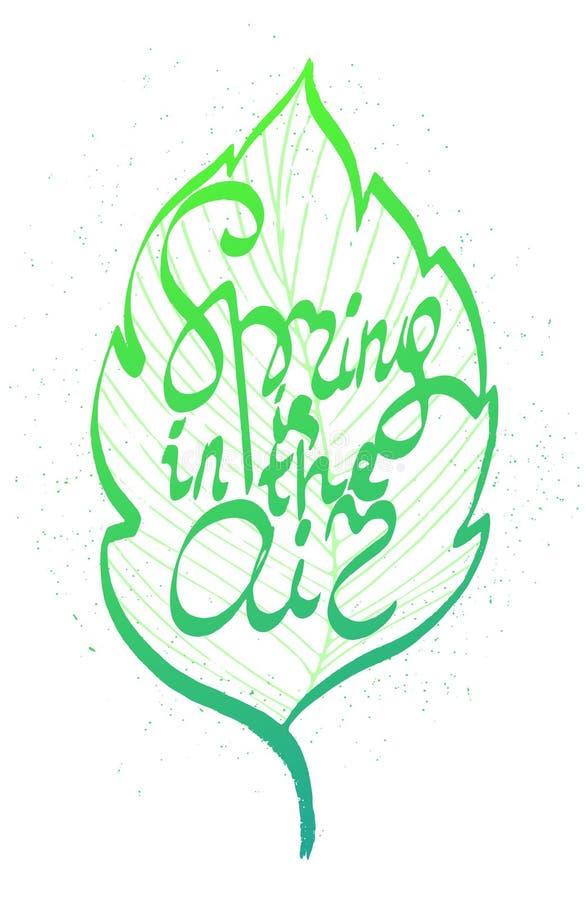 La primavera está en las letras dibujadas mano de la tinta del aire libre illustration