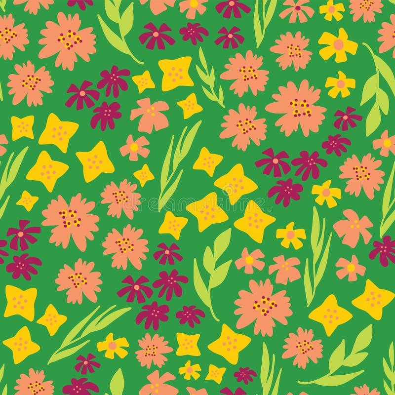 La primavera fiorisce il modello senza cuciture di ripetizione di vettore Fondo floreale disegnato a mano verde, giallo, rosa Pia illustrazione vettoriale