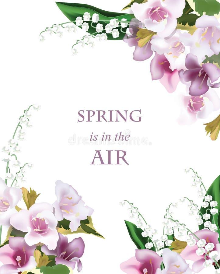 La primavera florece el fondo de la tarjeta del ramo Postal hermosa para las bodas, cumpleaños, aniversario Ilustración del vecto stock de ilustración
