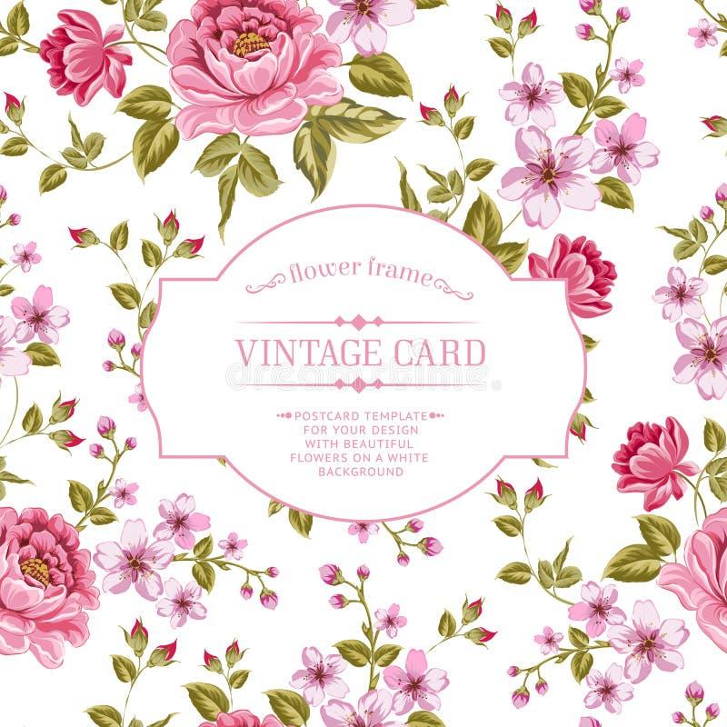 La primavera florece el ramo para la tarjeta del vintage. stock de ilustración