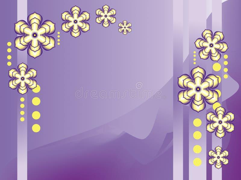 La primavera florece en puntos amarillos y púrpuras y amarillos en un fondo púrpura-blanco ilustración del vector